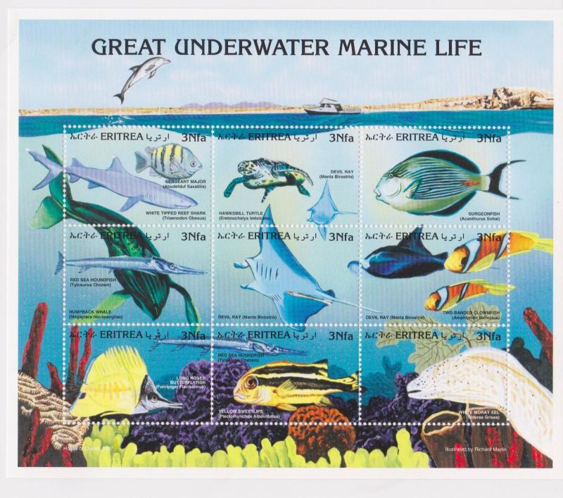 Eritrea - Fish, Marine Life, 1997 - Sc 297 Sheetlet of 9 MNH