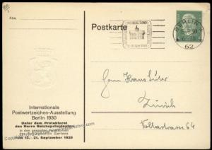Germany 1930 Berlin Stamp Show Embossed Private Ganzsachen Postal Card Use 68480