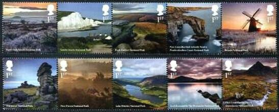 HERRICKSTAMP NEW ISSUES GREAT BRITAIN Nat'l Parks Strip of 5 (Folded)