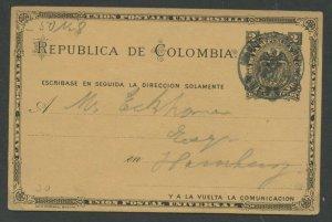 COLOMBIA PANAMA HG 10 COLON SEPTEMBER 1, 1892 TO HAMBURG, GERMANY AS SHOWN