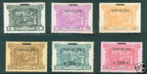 Portugal Scott 193-198  MH* Postage due Republic Overprint set of 1911 CV $283