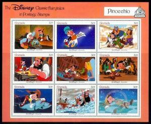 GRENADA - 1987 - DISNEY - PINOCCHIO - FAIRY TALES - MINT - MNH SHEET!
