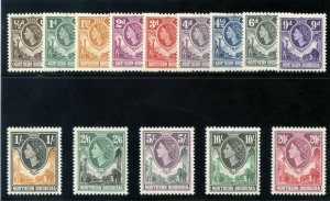 Northern Rhodesia 1953 QEII set complete MLH. SG 61-74. Sc 61-74.