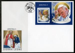 SIERRA LEONE 2018  JOHN PAUL II  SOUVENIR SHEET  FIRST DAY COVER
