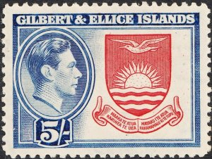 Gilbert & Ellice Islands 1939 KGVI 5/- Coat of Arms MVLH