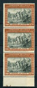 CHILE; 1944 early O'Higgins issue fine MINT MNH Margin Strip 30c.