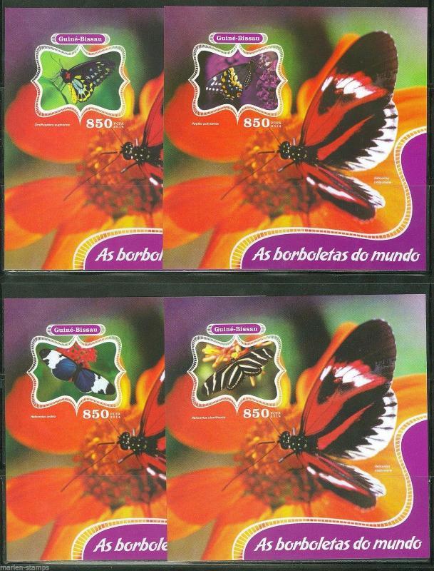 GUINEA BISSAU 2014 BUTTERFLIES SET OF  FOUR DELUXE SOUVENIR SHEETS I   AS SHOWN
