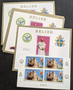 EDW1949SELL : BELIZE 1983 Sc #666-67 Pope visit Blk of 4 & 4 S/S VF MNH Cat $175