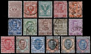 Italy Scott 76-91 (1901-26) Used/Mint H F-VF Complete Set, CV $134.35 B