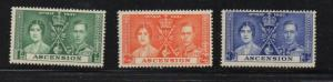 Ascension Sc 37-9 1937 Coronation George VI stamp set mint