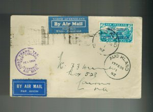 1934 New Zealand Auckland to Trans tasman Australia  First Flight Cover # C5 FFC