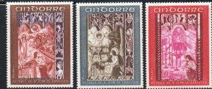 Andorra (Fr) Sc 178-80 1967 Church Frescoes  stamp set mint NH