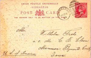 Gibraltar 1d QV Postal Card 1901 Gibraltar A26 duplex to Mammen, Iowa.
