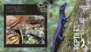 Tokelau 2017 FDC Reptiles of Tokelau Skinks Geckos 4v M/S Cover Lizards Stamps