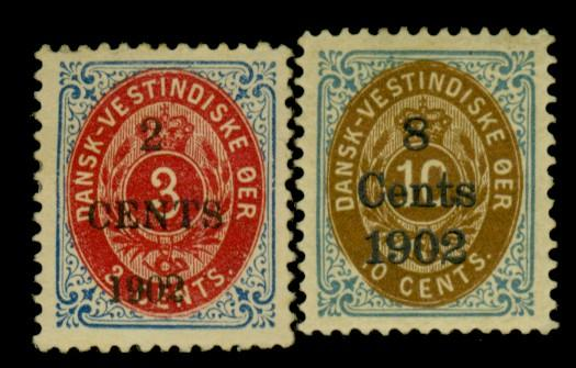 Danish W Indies #24-5 MINT F-VF OG HR Cat$35
