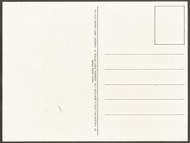 ST. VINCENT STAMP,1985 MICHAEL JACKSON $1 STAMP.FIRST DAY OF ISSUE.MAXI CARD