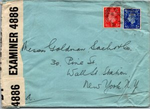 Kleinwort & Sons London UK > Goldman Sachs NY censored 1940s perf stamps