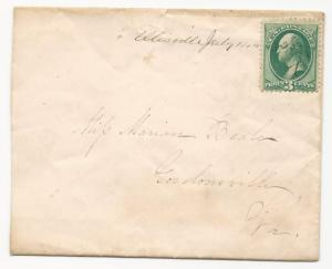 VA Cover US Scott #158 Ellisville DPO July 14, 1875