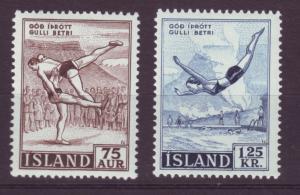 J19179 Jlstamps 1955 iceland set mnh #287-8 sports