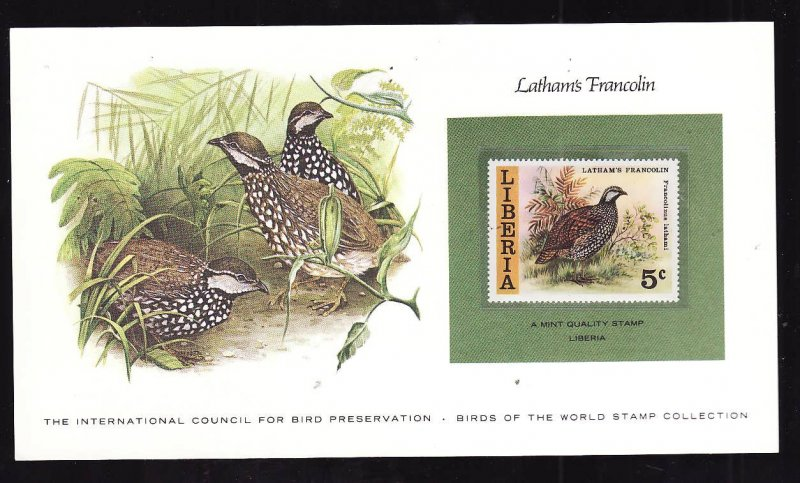 Birds of the World Stamp Collection #18b-Liberia-Mint NH Latham's Francolin stam
