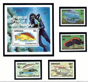 Grenada 1211-15 MNH 1984 Fish     (KA)