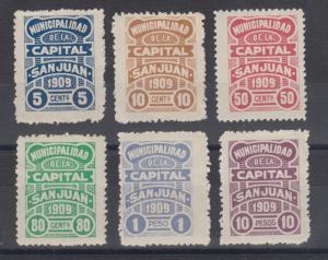 Argentina, San Juan, Forbin 1//9. 1909 Municipal Tax Revenues, 6 different