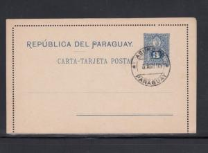 Paraguay Letter Card Asuncion 1893 Philatelic Use