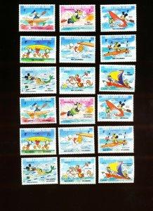 TURKS CAICOS ISLANDS - Sc 619-28 & 619a-28a, VFMNH - DISNEY, LA OLYMPICS - 1984