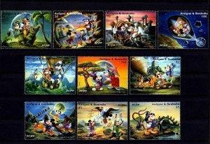 Antigua & Barbuda MNH Set Of 10 Disney's Mickey & Jules Verne Movie Seri...