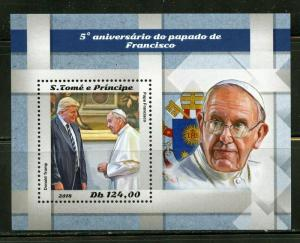 SAO TOME  2018  5th ANNIVERSARY OF THE PAPACY OF POPE FRANCIS  S/S  MINT NH