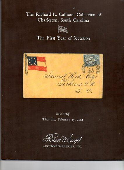 Siegal Auction Sale on South Carolina  Philately