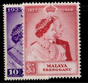 MALAYSIA - Trengganu GVI SG61-62, ROYAL SILVER WEDDING set, NH MINT. Cat £26.