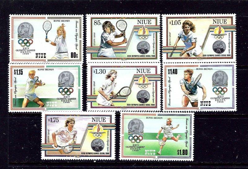 Niue 538-45 MNH 1987 Tennis