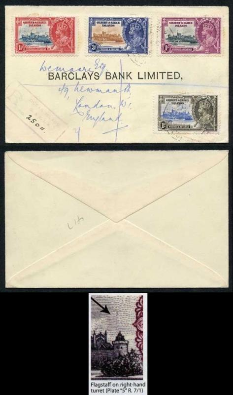Gilbert & Ellice SG38d Silver Jubilee 3d Flagstaff on right-hand Turret on Cover