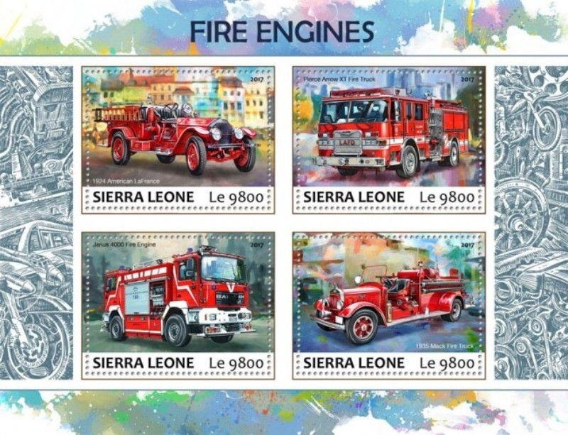 Sierra Leone - 2017 Fire Engines - 4 Stamp Sheet - SRL17701a