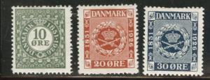 DENMARK  Scott 178-80 MH*1926 set CV$9.60 180 is thinned