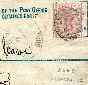 GB BLUE NUMERAL *75* Birmingham Registered Cover 1879 SG141 Plate 16 Italy MC26a