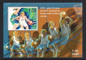 Latvia Sc 738 2009 Basketball stamp sheet mint NH