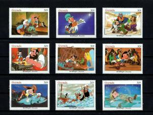 GRENADA - 1987 - DISNEY - PINOCCHIO - FAIRY TALES - MINT - MNH SET OF 9!