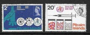 PITCAIRN ISLANDS SG92/3 1968 WORLD HEALTH ORGANISATION  FINE USED