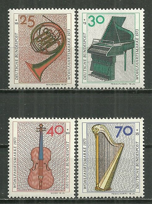 1973 Germany B503-6 Musical Instruments C/S MNH