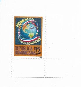 REPUBLICA DOMINICANA YEAR 2008 TRIBUTE TO THE DIASPORA OF DOMINICAN 1 VALUE MNH