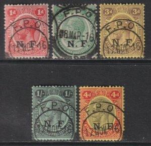 Sc# N101 / N105 GEA 1916 KGV British occupation N.F overprint set Used CV $145.