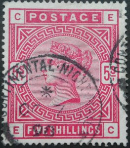 Great Britain 1883 QV Five Shillings with CONTINENTAL NIGHT MAIL postmark