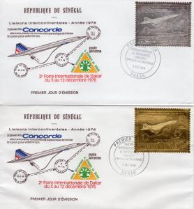 Senegal 1976 Sc#C143A/C143B Concorde Set Gold+Silver (2) FDC