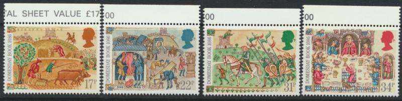 GB SG 1324 - 1327  SC# 1145-1148 Mint Never Hinged - Doomsday Book Anniversary