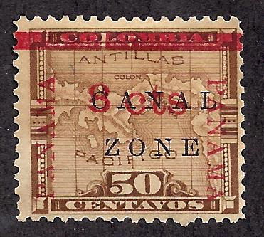 Canal Zone 19d Mint,OG,HR... SCV $110.00... Panama Up & Down, No Period