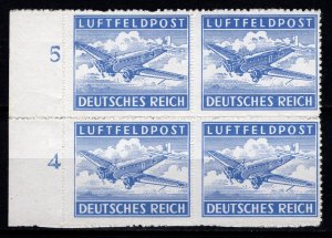 Germany 1942 Air Mail, Military Fieldpost (roulette), Marginal Block [Mint]