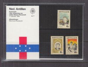 NETHERLANDS ANTILLES,1984 Eleanor Roosevelt set of 3, Folder 7