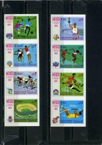 MANAMA 1968 SUMMER OLYMPIC GAMES MEXICO 2 STRIPS OF 4 STAMPS IMPERF. MNH